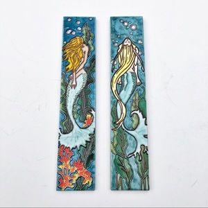 Set of 2: En Vogue Mermaid Panel Ceramic Art Tile